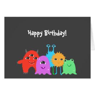 Cartão Aniversário bonito do monstro