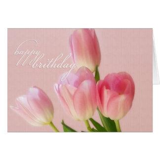 Cartão Aniversário-Cor-de-rosa feliz das tulipas