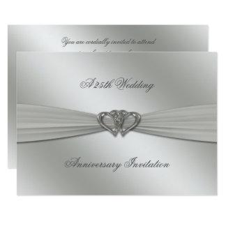 Cartão Aniversário de casamento 5x7 da prata clássica o