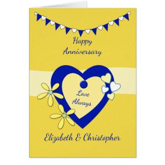 Cartão Aniversário de casamento amarelo e azul