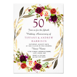 Cartão Aniversário de casamento da grinalda 50th do ouro