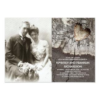 Cartão Aniversário de casamento de madeira rústico da