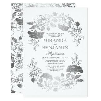 Cartão Aniversário de casamento elegante da grinalda