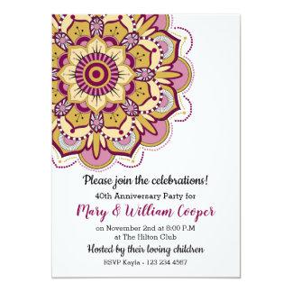 Cartão Aniversário de casamento floral da mandala 40th