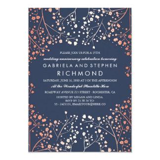 Cartão Aniversário de casamento floral da respiração do