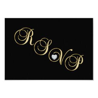 Cartão Aniversário de casamento preto elegante do ouro