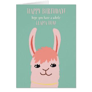 Cartão Aniversário do divertimento do lama