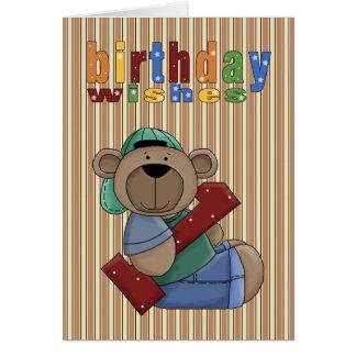 Cartão Aniversário do urso do divertimento o primeiro