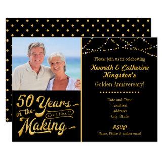 Cartão Aniversário dourado, 50 anos no fazer