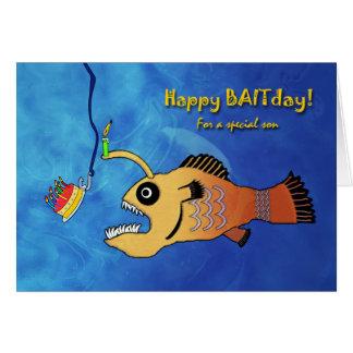 Cartão Aniversário engraçado para o filho, diabo-marinho