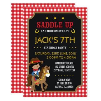 Cartão Aniversário escuro ocidental selvagem do vaqueiro