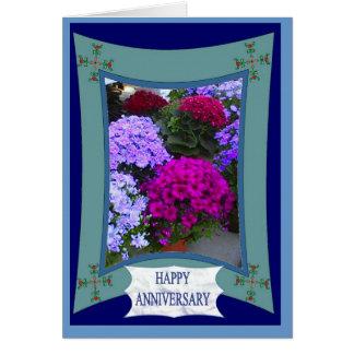 Cartão Aniversário feliz, hydrangias exóticos