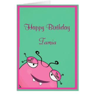 Cartão Aniversário feminino espreitando adorável do