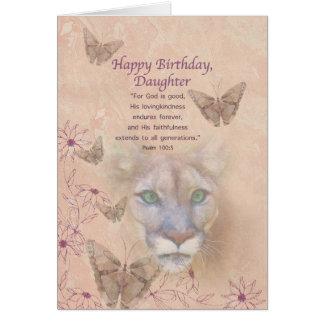 Cartão Aniversário, filha, puma e borboletas
