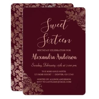 Cartão Aniversário floral do doce dezesseis do rosa de