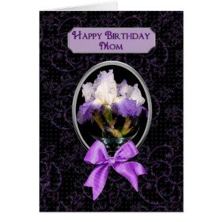 Cartão Aniversário, mamã - íris roxa