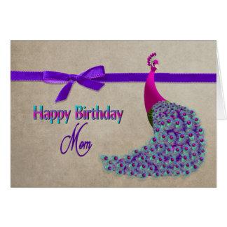 Cartão Aniversário, mamã - pavão majestoso