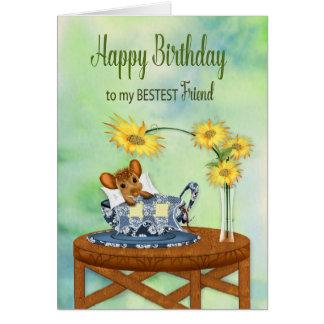 Cartão Aniversário - melhor amigo - rato no descanso do