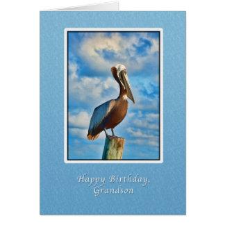 Cartão Aniversário, neto, pelicano de Brown no cargo