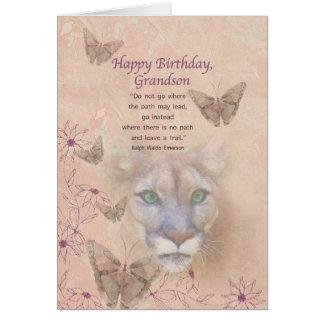 Cartão Aniversário, neto, puma e borboletas