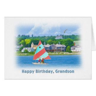 Cartão Aniversário, neto, veleiro em um lago, náutico