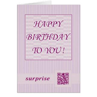 Cartão Aniversário Olivia do cumprimento Card.Happy!
