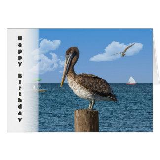 Cartão Aniversário, pelicano de Brown com Seascape