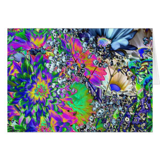 Cartão Aniversário psicadélico! - Flores coloridas