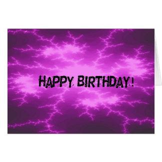 Cartão Aniversário roxo do abstrato de choque
