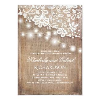 Cartão Aniversário rústico de serapilheira e de casamento