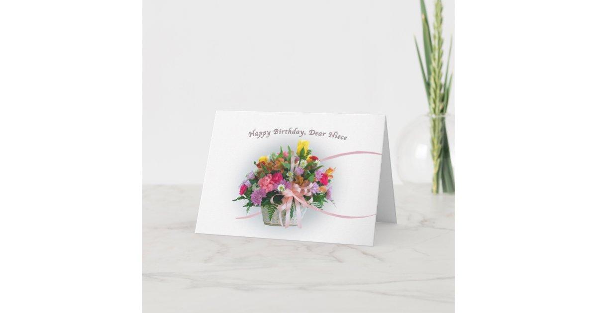 Flores Para Bens Sobrinha: Cartão Aniversário, Sobrinha, Flores Em Uma Cesta