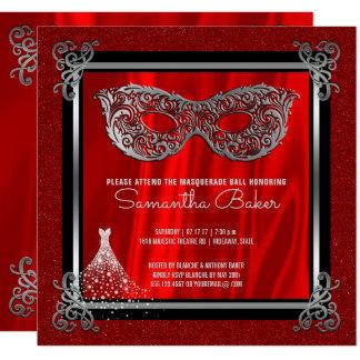 Cartão Aniversário vermelho do doce dezesseis do