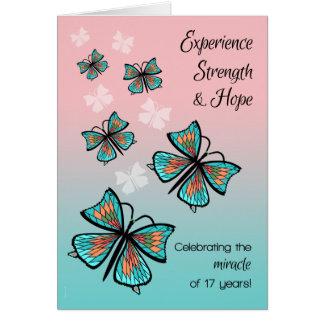 Cartão Ano borboleta limpa e sóbrio de 17 de 12 etapas do