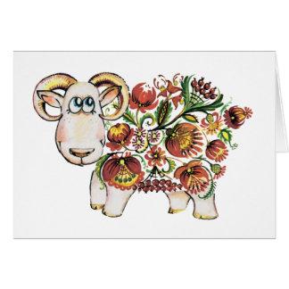 Cartão Ano de um carneiro - pintura de Petrykivsky do
