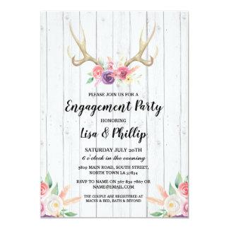 Cartão Antler rústico do chá da festa de noivado floral