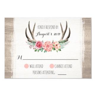 Cartão Antlers florais casamento rústico RSVP