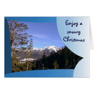 Cartão Aprecie um Natal nevado nos cumes franceses
