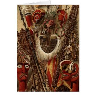 Cartão Armas e traje polinésios