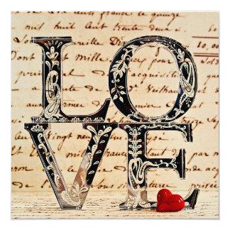 """Cartão artesanal """"LOVE"""" Convite Quadrado 13.35 X 13.35cm"""