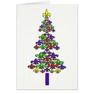 Cartão Árvore de Natal da flor de lis