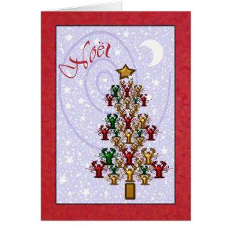 Cartão Árvore de Natal lunática da lagosta dos lagostins