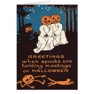 Cartão Árvore do gato preto do fantasma da lanterna de