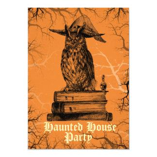 Cartão Árvores assustadores assombradas da coruja da