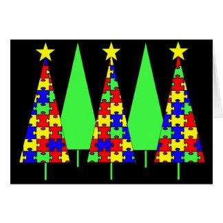 Cartão Árvores de Natal do quebra-cabeça - consciência do