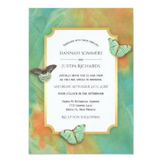 Cartão As borboletas no sudoeste colorem o casamento