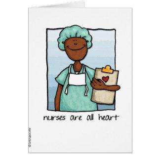Cartão as enfermeiras são todo o coração
