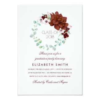 Cartão As flores de Borgonha envolvem a graduação