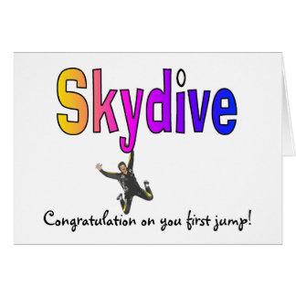 Cartão As Skydive-Felicitações em você saltam