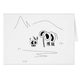 Cartão asno e elefante e montanha