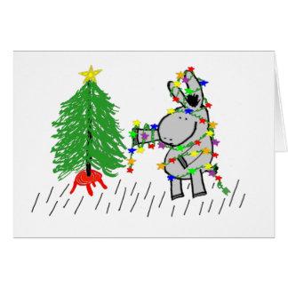 Cartão asno que decora a árvore de Natal